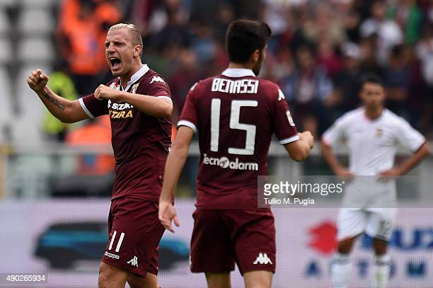 Maxi Lopez of Torino celebrates after scoring the opening goal during the Serie A match between Torino FC and US Citta di Palermo at Stadio Olimpico...