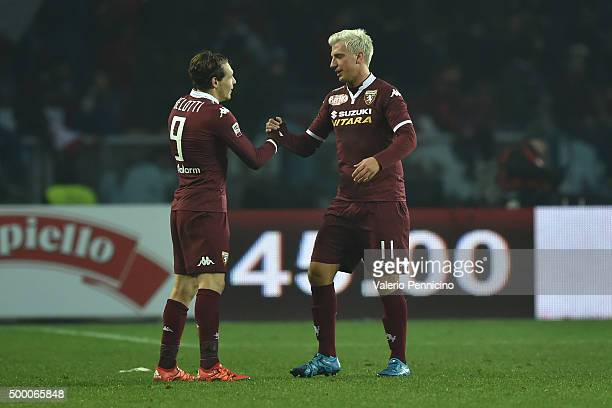 Maxi Lopez of Torino FC celebrates the equalising goal with teammate Andrea Belotti at the end of the Serie A match between Torino FC and AS Roma at...