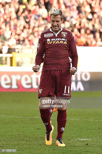 Maxi Lopez of Torino FC reacts after missing a penalty during the Serie A between Torino FC and Carpi FC at Stadio Olimpico di Torino on February 21...