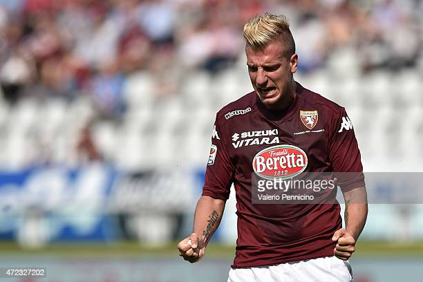 Maxi Lopez of Torino FC reacts during the Serie A match between Torino FC and Empoli FC at Stadio Olimpico di Torino on May 6 2015 in Turin Italy