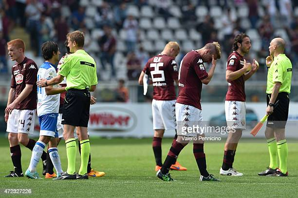 Maxi Lopez of Torino FC show his dejection at the end of the Serie A match between Torino FC and Empoli FC at Stadio Olimpico di Torino on May 6 2015...