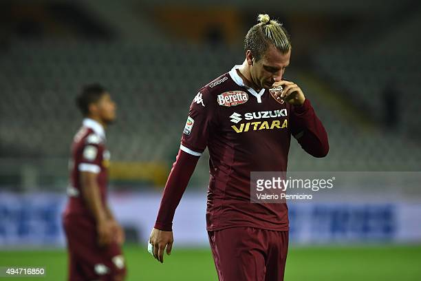 Maxi Lopez of Torino FC shows his dejection after the draw with Genoa CFC at the end of the Serie A match between Torino FC and Genoa CFC at Stadio...