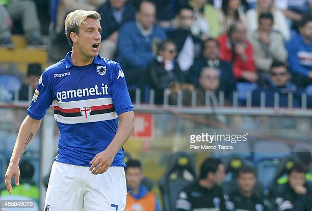 Maxi Lopez of UC Sampdoria speaks with the referee during the Serie A match UC Sampdoria and FC Internazionale Milano at Stadio Luigi Ferraris on...