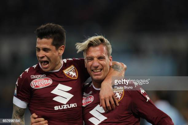 Maxi Lopez with his teammate Juan Iturbe of FC Torino celebrates after scoring the team's first goal during the Serie A match between SS Lazio and FC...