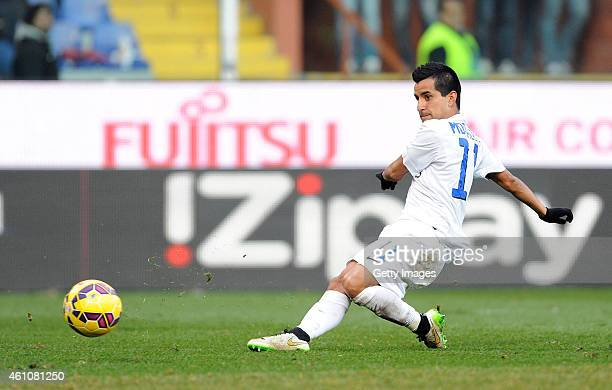 Maxi Moralez of Atalanta BC scores his side's second goal during the Serie A match between Genoa CFC and Atalanta BC at Stadio Luigi Ferraris on...