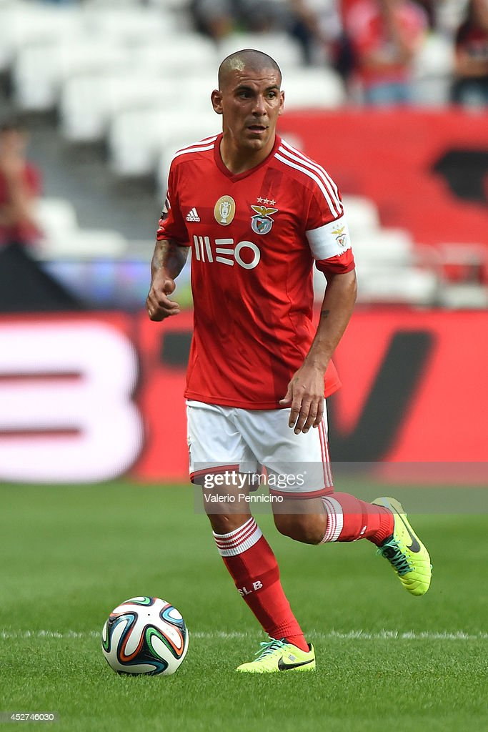 <a gi-track='captionPersonalityLinkClicked' href=/galleries/search?phrase=Maxi+Pereira&family=editorial&specificpeople=4500885 ng-click='$event.stopPropagation()'>Maxi Pereira</a> of SL Benfica in action during the Eusebio Cup match between SL Benfica and Ajax at Estadio da Luz on July 26, 2014 in Lisbon, Portugal.