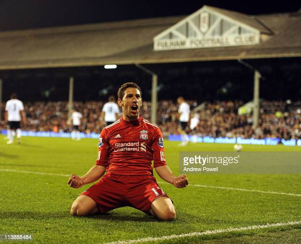 Maxi Rodriguez of Liverpool celebrates after scoring his hatrick during the Barclays Premier League match between Fulham and Liverpool at Craven...