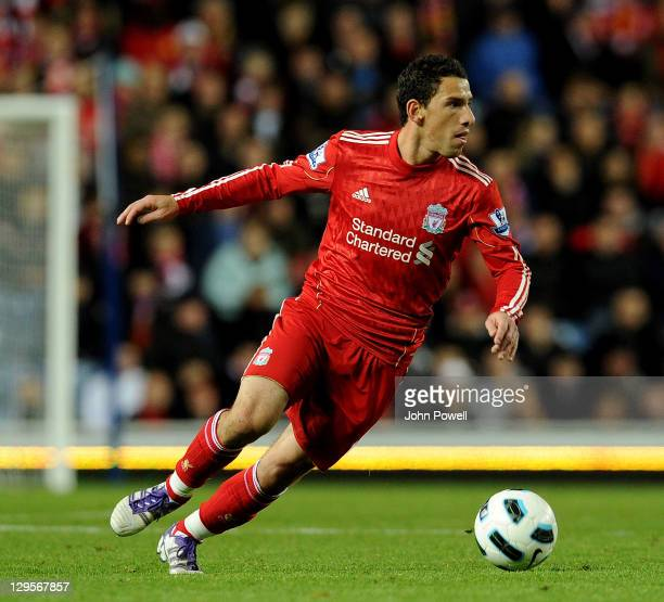 Maxi Rodriguez of Liverpool during a friendly between Rangers and Liverpool at Ibrox Stadium on October 18 2011 in Glasgow Scotland