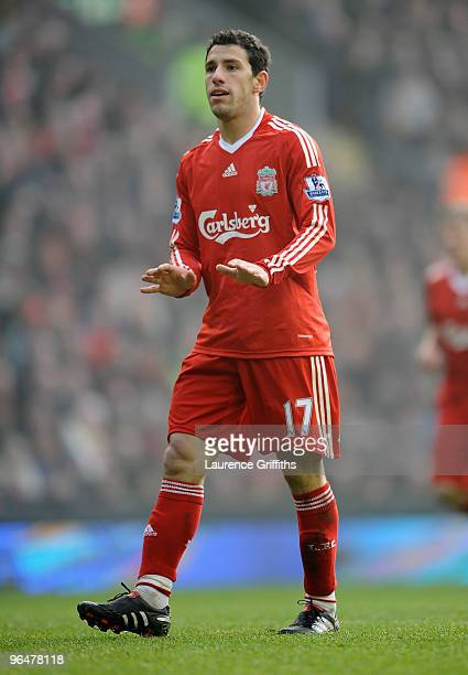 Maxi Rodriguez of Liverpool gestures during the Barclays Premier League match between Liverpool and Everton at Anfield on February 6 2010 in...