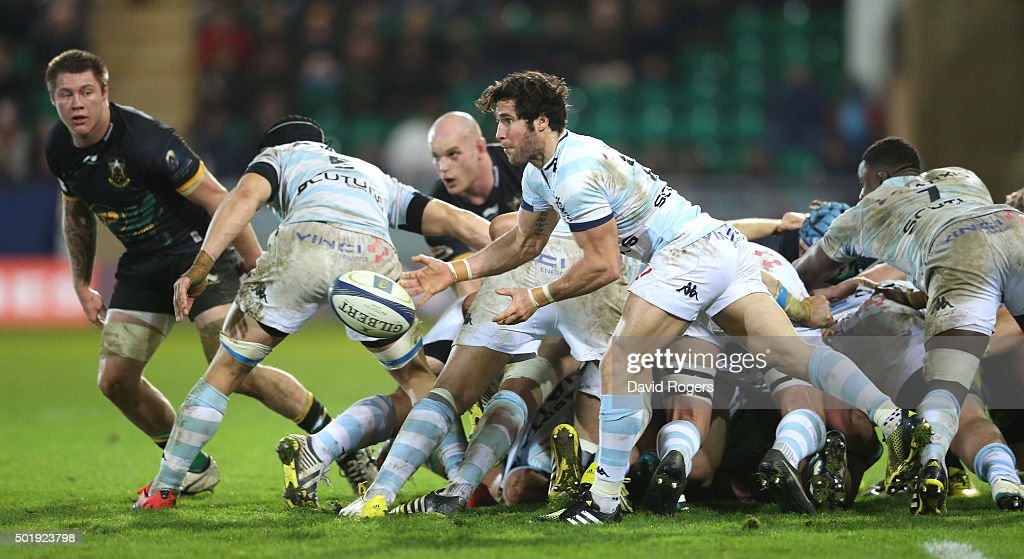 Maxiime Machenaud of Racing 92 passes the ball during the European Rugby Champions Cup match between Northampton Saints and Racing 92 at Franklin's Gardens on December 18, 2015 in Northampton, England.