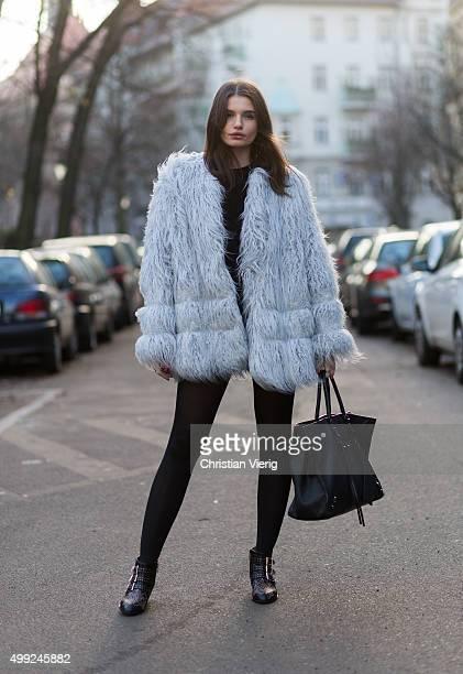 Maxilie Mlinarskij is wearing HM jacket Chloe boots Balenciaga bag Gentle Monster sunglasses on November 27 2015 in Berlin Germany