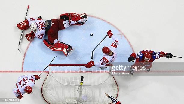 Maxim Afinogenov of Russia celebrates his team's 3rd goal over Frederik Andersen goaltendern of Denmark during the IIHF World Championship...