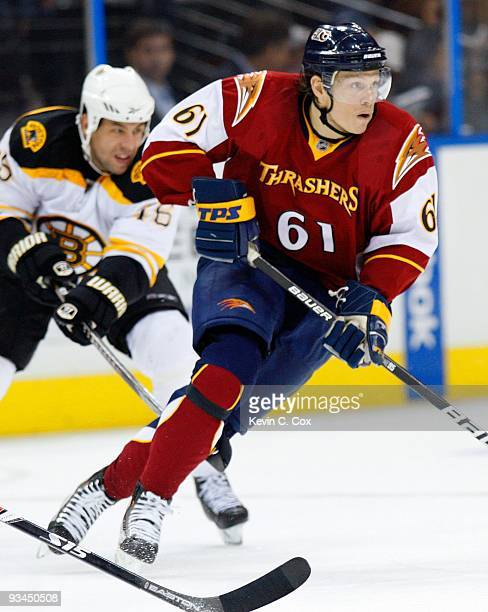 Maxim Afinogenov of the Atlanta Thrashers against the Boston Bruins at Philips Arena on November 19 2009 in Atlanta Georgia