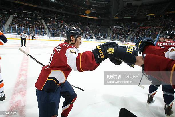 Maxim Afinogenov of the Atlanta Thrashers celebrates after scoring a firstperiod goal against the New York Islanders at Philips Arena on March 4 2010...