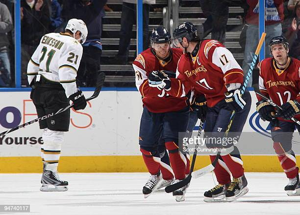 Maxim Afinogenov of the Atlanta Thrashers celebrates with Ilya Kovalchuk after scoring against the Dallas Stars at Philips Arena on December 17 2009...