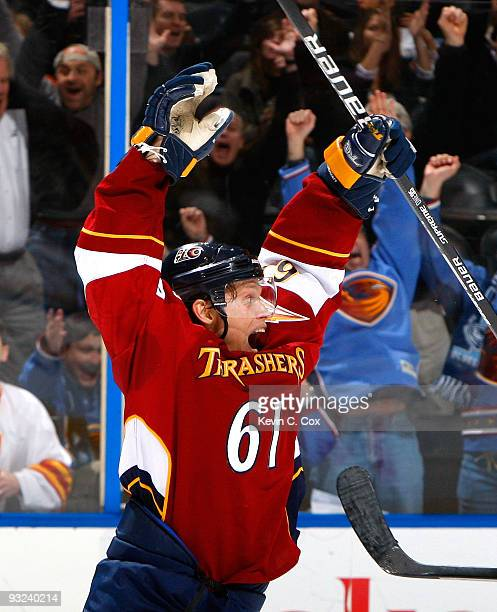 Maxim Afinogenov of the Atlanta Thrashers reacts after scoring a goal to tie the game against the Boston Bruins in the final minutes of regulation at...