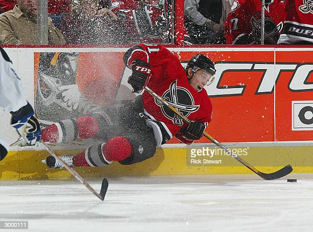 Maxim Afinogenov of the Buffalo Sabres loses his edge against theTampa Bay Lightning on February 20 2004 at HSBC Arena in Buffalo New York