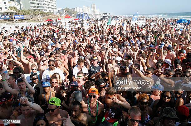 Maxim and Just Dance 3 have Spring Breakers dancing on the beach with 30 Rock's Katrina Bowden on March 8 2012 in Panama City Beach Florida