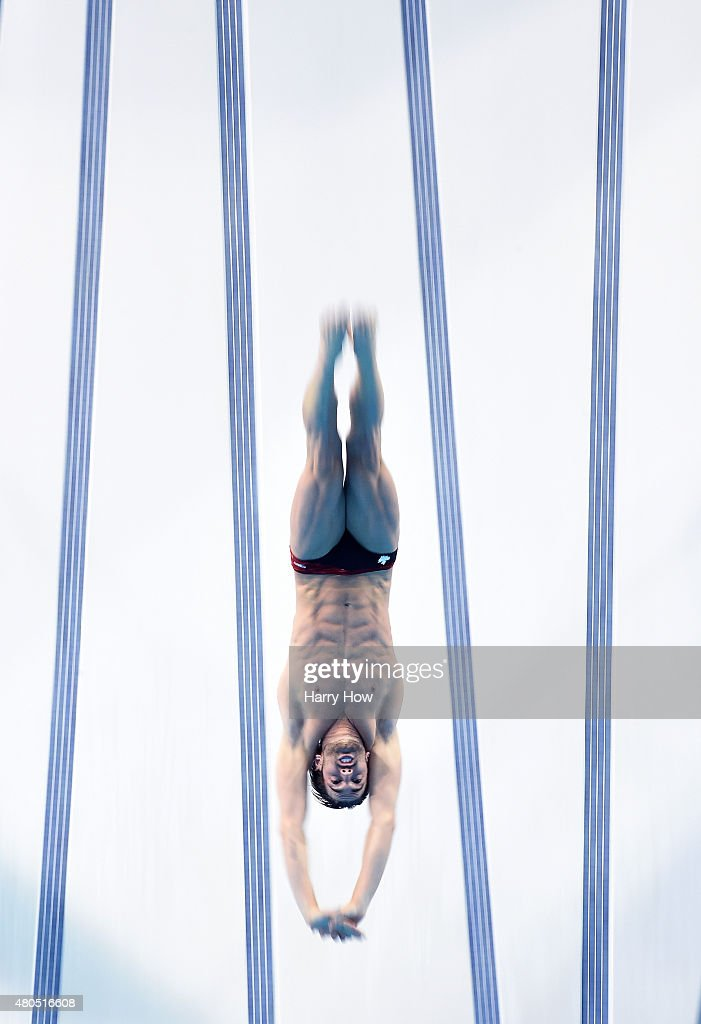 Maxim Bouchard of Canada competes in the men's 10M platform diving preliminary at the CIBC Aquatic Centre on July 12, 2015 in Scarborough, Canada.