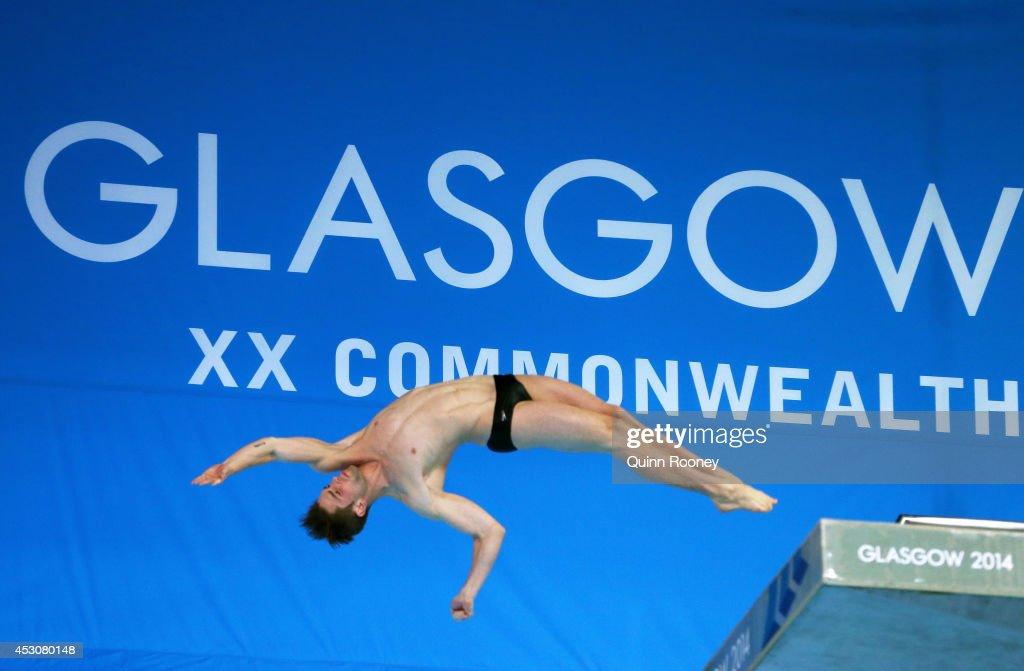 <a gi-track='captionPersonalityLinkClicked' href=/galleries/search?phrase=Maxim+Bouchard&family=editorial&specificpeople=10905464 ng-click='$event.stopPropagation()'>Maxim Bouchard</a> of Canada competes in the Men's 10m Platform Final at Royal Commonwealth Pool during day ten of the Glasgow 2014 Commonwealth Games on August 2, 2014 in Edinburgh, United Kingdom.