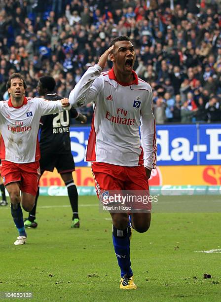 Maxim Choupo Moting of Hamburg celebrates after he scores his team' s 2nd goal during the Bundesliga match between Hamburger SV and 1 FC...