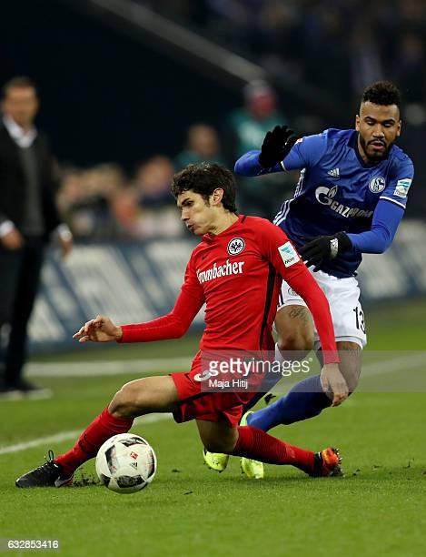 Maxim Choupo Moting of Schalke and Jesus Vallejo of Frankfurt battle for the ball during the Bundesliga match between FC Schalke 04 and Eintracht...