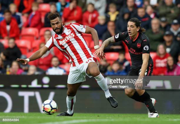 Maxim ChoupoMoting of Stoke City and Hector Bellerin of Arsenal battle for possession during the Premier League match between Stoke City and Arsenal...