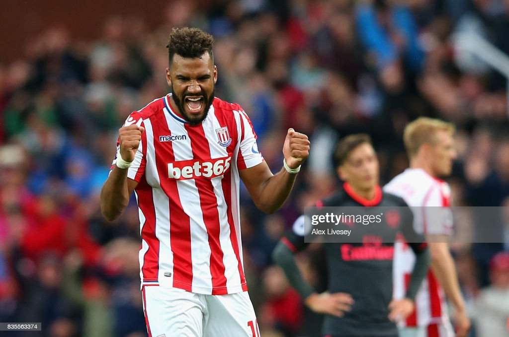 Maxim Choupo-Moting of Stoke City celebrates victory after the Premier League match between Stoke City and Arsenal at Bet365 Stadium on August 19, 2017 in Stoke on Trent, England.