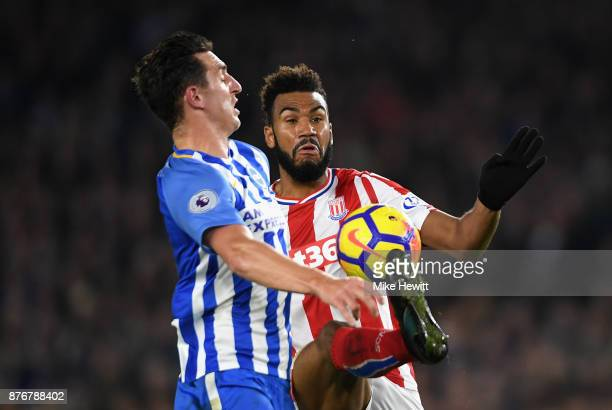 Maxim ChoupoMoting of Stoke City controlls the ball on his way to scoring his sides first goal during the Premier League match between Brighton and...