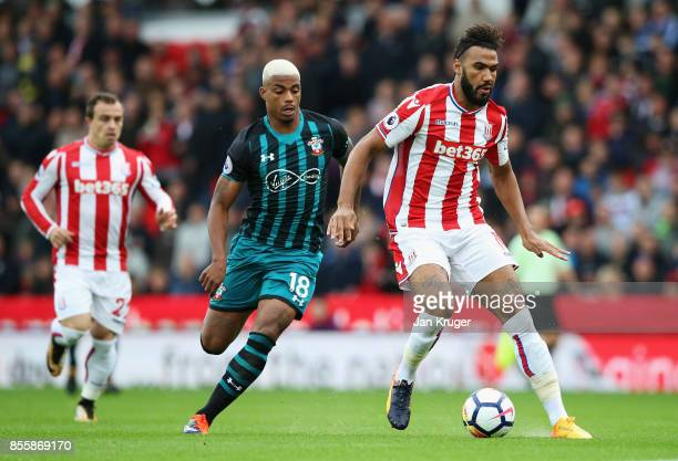 Maxim ChoupoMoting of Stoke City controls the ball under pressure of Mario Lemina of Southampton during the Premier League match between Stoke City...