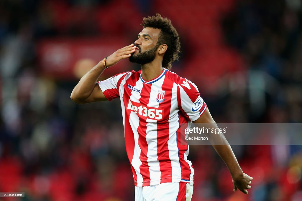 Maxim Choupo-Moting of Stoke City reacts during the Premier League match between Stoke City and Manchester United at Bet365 Stadium on September 9, 2017 in Stoke on Trent, England.