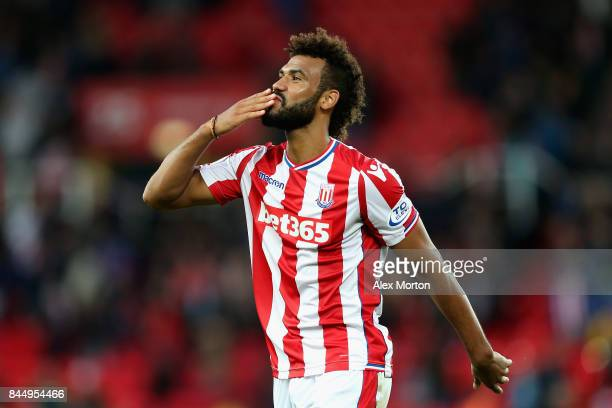 Maxim ChoupoMoting of Stoke City reacts during the Premier League match between Stoke City and Manchester United at Bet365 Stadium on September 9...