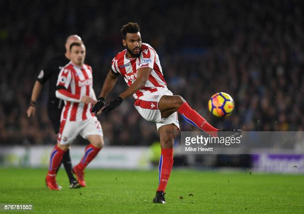 Maxim ChoupoMoting of Stoke City shoots on goal during the Premier League match between Brighton and Hove Albion and Stoke City at Amex Stadium on...