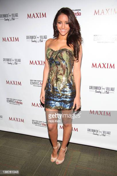 Maxim cover girl Melanie Iglesias attends the 2012 Maxim Magazine Super Bowl Weekend KickOff Party at the Greenwich Village Country Club on February...