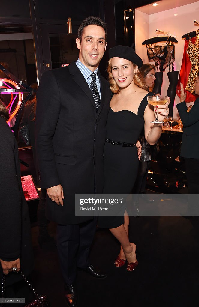 Maxim Crewe (L) and <a gi-track='captionPersonalityLinkClicked' href=/galleries/search?phrase=Charlotte+Dellal&family=editorial&specificpeople=2242560 ng-click='$event.stopPropagation()'>Charlotte Dellal</a> attend an intimate cocktail event hosted at Agent Provocateur Grosvenor Street boutique to celebrate the launch of the Agent Provocateur and Charlotte Olympia capsule collection on February 10, 2016 in London, England.