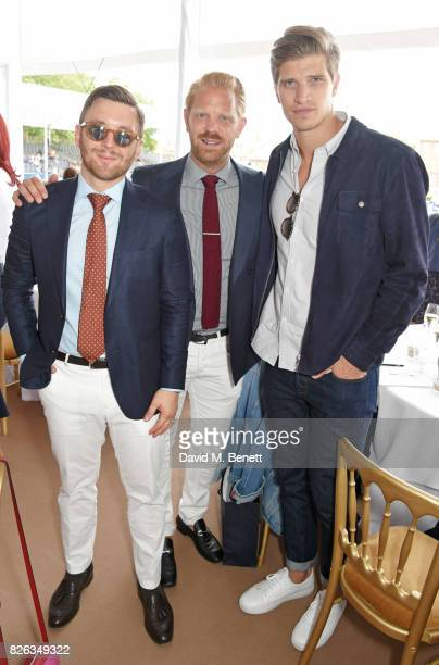 Maxim de Turckheim Alistair Guy and Toby HuntingtonWhiteley attend the Longines hospitality lounge at the Global Champions Tour at the Royal Hospital...