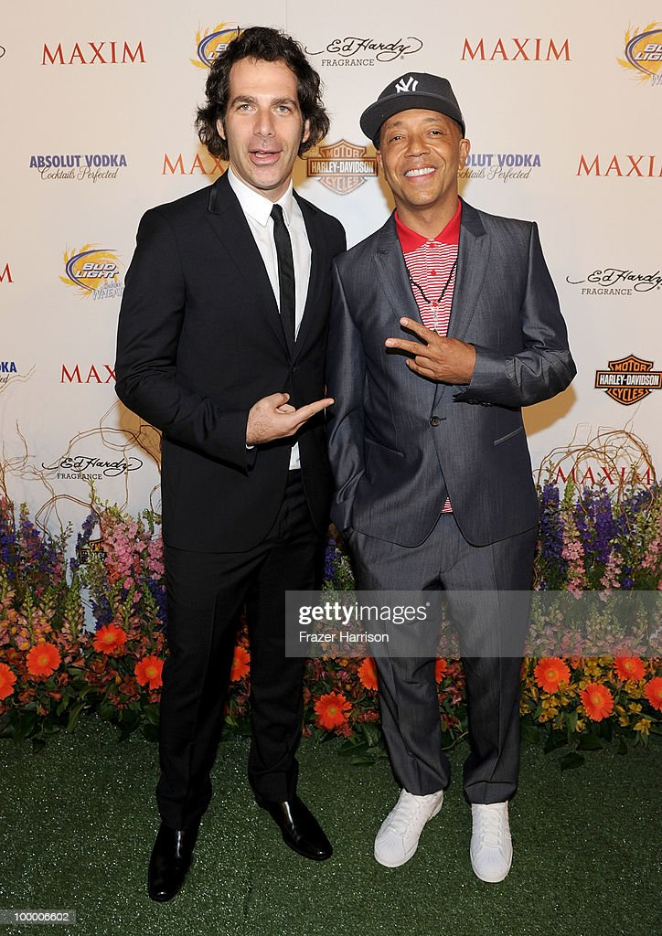 Maxim Editor in Chief Joe Levy and Music Producer Russell Simmons arrive at the 11th annual Maxim Hot 100 Party with Harley-Davidson, ABSOLUT VODKA, Ed Hardy Fragrances, and ROGAINE held at Paramount Studios on May 19, 2010 in Los Angeles, California.