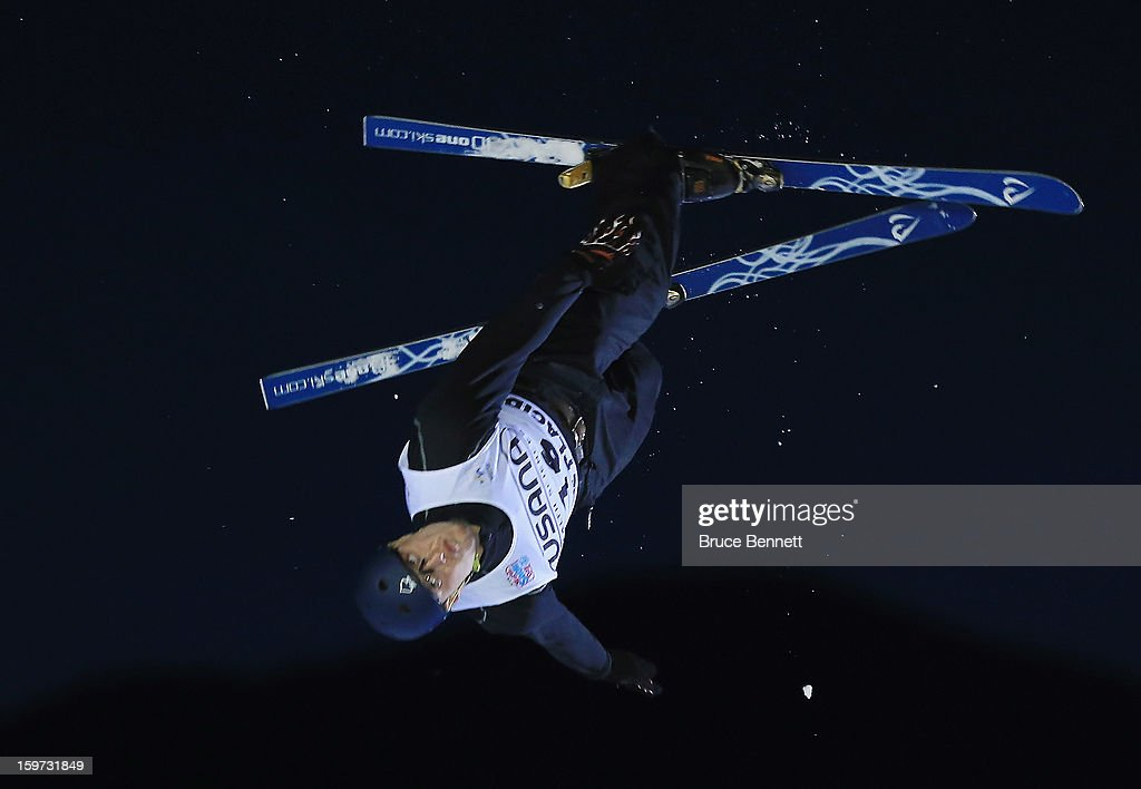 Maxim Gustik #16 of Belarus jumps in the USANA Freestyle World Cup aerial competition at the Lake Placid Olympic Jumping Complex on January 19, 2013 in Lake Placid, New York.