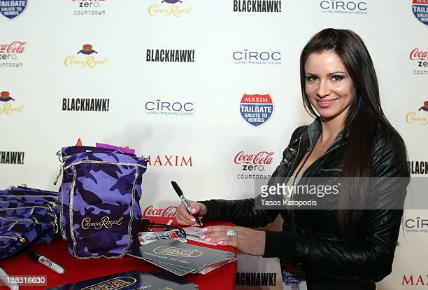 Maxim Hometown Hotties winner April Rose attends Maxim Tailgate Salute To Heroes With Coca Cola Zero Crown Royal and Blackhawk on February 5 2012 in...