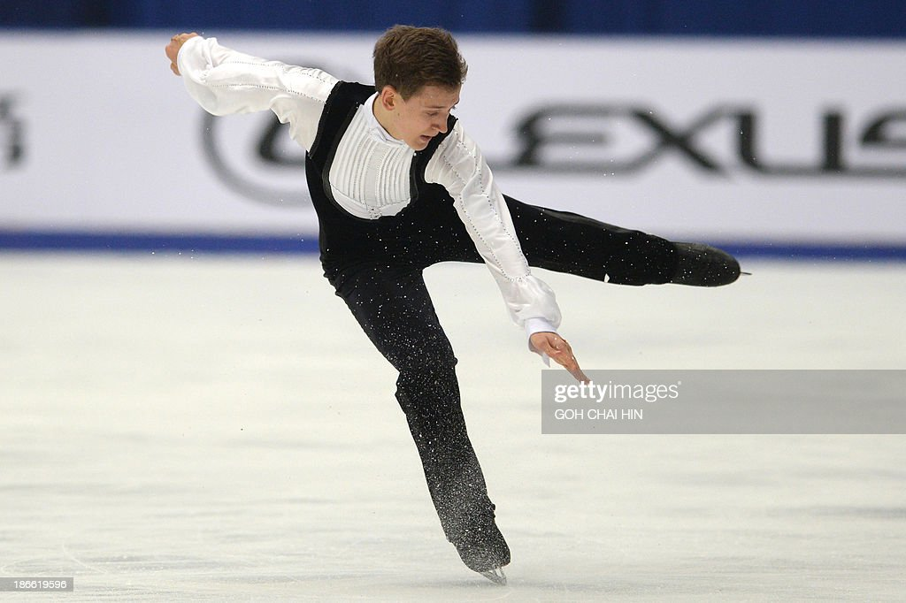 Maxim Kovtun of Russia performs during the men free skating event of the Cup of China ISU Grand Prix of Figure Skating in Beijing on November 2, 2013. Kovtun won second place with a total score of 238.65.