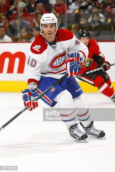 Maxim Lapierre of the Montreal Canadiens skates against the Ottawa Senators during a preseason game at Scotiabank Place on September 19 2009 in...