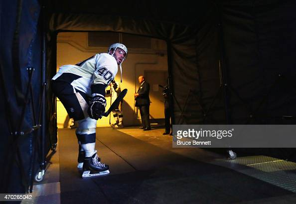 Maxim Lapierre of the Pittsburgh Penguins waits for warmups to begin prior to the game against the New York Rangers in Game One of the Eastern...