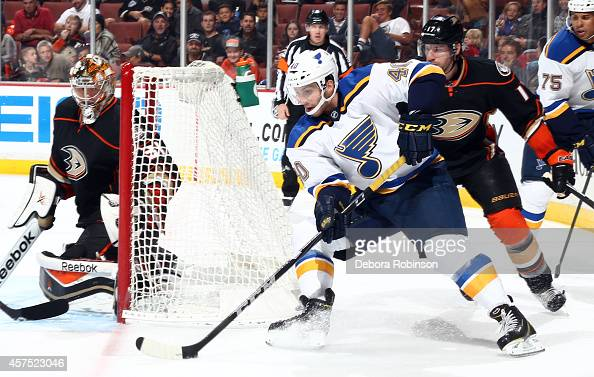 Maxim Lapierre of the St Louis Blues handles the puck during the game against the Anaheim Ducks on October 19 2014 at Honda Center in Anaheim...