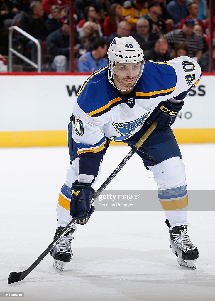 Maxim Lapierre of the St Louis Blues in action during the NHL game against the Arizona Coyotes at Gila River Arena on January 6 2015 in Glendale...