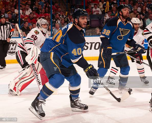 Maxim Lapierre of the St Louis Blues skates against the Chicago Blackhawks in Game Five of the First Round of the 2014 Stanley Cup Playoffs at the...
