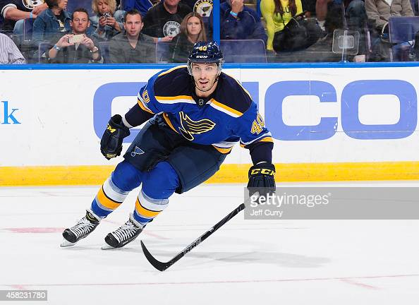Maxim Lapierre of the St Louis Blues skates against the Chicago Blackhawks on October 25 2014 at Scottrade Center in St Louis Missouri
