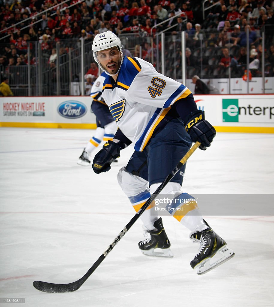 Maxim Lapierre of the St Louis Blues skates against the New Jersey Devils at the Prudential Center on November 4 2014 in Newark New Jersey The Blues...