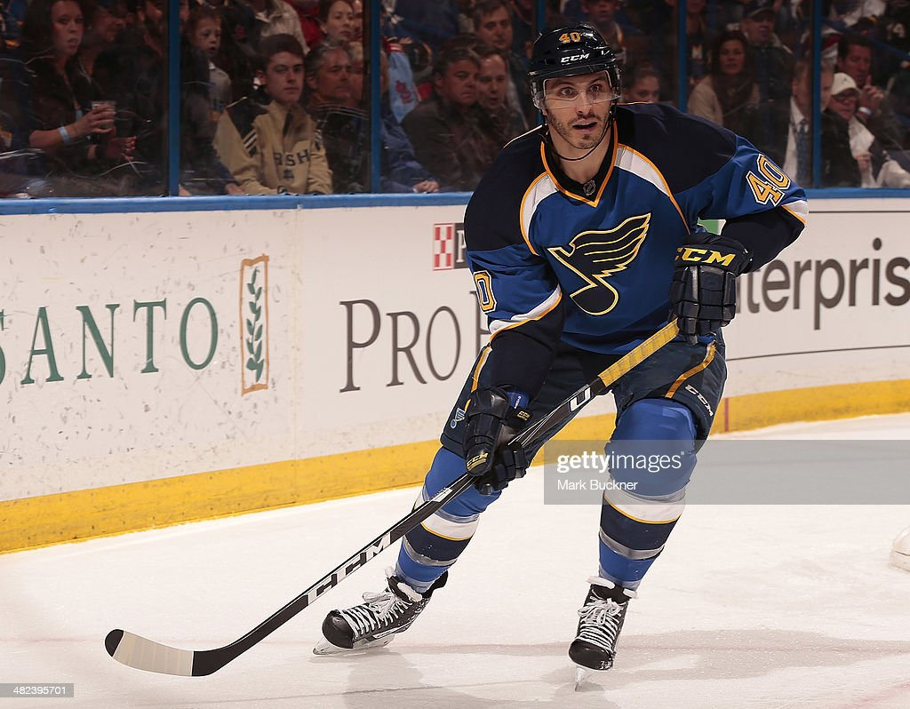 Maxim Lapierre of the St Louis Blues skates against the Philadelphia Flyers during an NHL game on April 1 2014 at Scottrade Center in St Louis...