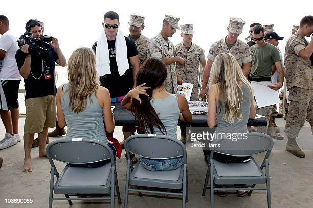 Maxim Magazine's Home Town Hotties sign autographs for Marines at Camp Pendleton on August 27 2010 in Oceanside California
