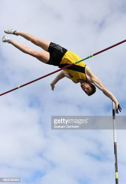 Maxim Mishchenko of Australia competes in the Men's pole vault open during the IAAF Melbourne World Challenge at Olympic Park on March 22 2014 in...